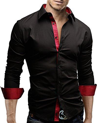 MERISH Slim Fit chemise homme, longue chemise décontractée avec des contrastes de couleurs style unique Modell 63 Noir/Rouge foncé