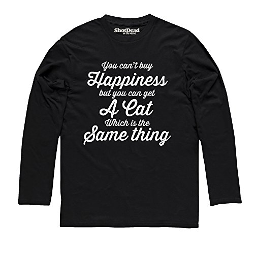 Cat Happiness Langarmshirt, Herren Schwarz