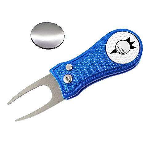 Myartte Golf Divot Reparatur-Werkzeug, Faltbare Divot-Werkzeug, Edelstahl-Schalterklinge mit 2 abnehmbaren Golfball-Marker, Pop-Up-Knopf, Blue Golf Marker -