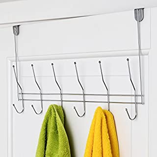 ArtMoon Easy Over Door Rack with 6 Double Hooks Chrome Plated Steel, Silver, 47X27X5.6