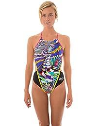 """MPMichael Phelps Maryland - Bañadorpara mujer, negro/rosa, 71,12 cm, Michael Phelps, Maryland mujer, mujer, color negro/rosa, tamaño 30"""" (UK 6)"""