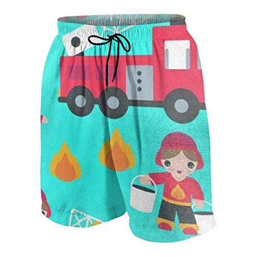 Cartoon Fireman Fire Truck Children's Backpack Little Boys Beach Shorts Quick Dry Beach Swim Trunks Kids Swimsuit Beach Shorts,Athletic Performance Basketball Shorts L Childrens Place Jeans