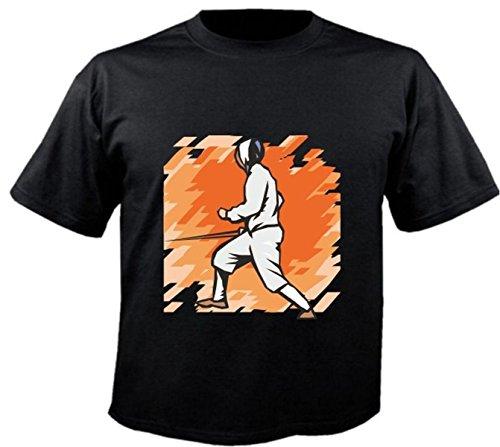 Motiv Fun T-Shirt Fechten Degen Sport Hobby Freizeit Sport Motiv Nr. 6255 Schwarz