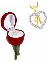 Meenaz Heart Gold Plated In American Diamond Rings With Velvet Red Rose Ring Box For Women