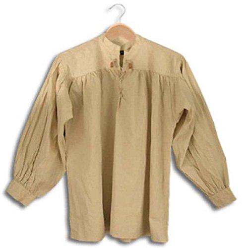 Kostüm Firma Historische - SAY Mittelalter Baumwollhemd mit Schnürung/Größe L/Farbe: Naturfarben/Mittelalter Gewandung/Syndicate Armoury