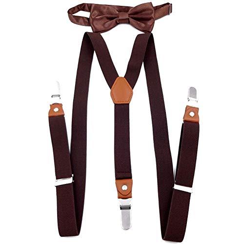 Inciple Conjunto Tirantes y Pajarita Para Hombre Mujer Elástica 2.5cm 3 Clips Y Forma Ajustable Adulto Unisex Pantalones Bowtie Clip Suspender Set Accesorio De Pantalón