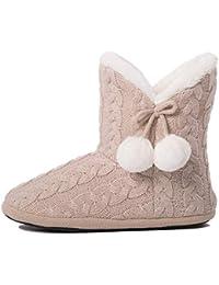 Airee Fairee Pantofole Donna Le Signore Ragazze Maglia Effetto Tessuto  Pantofola con Pom Poms 1afbaa4a874