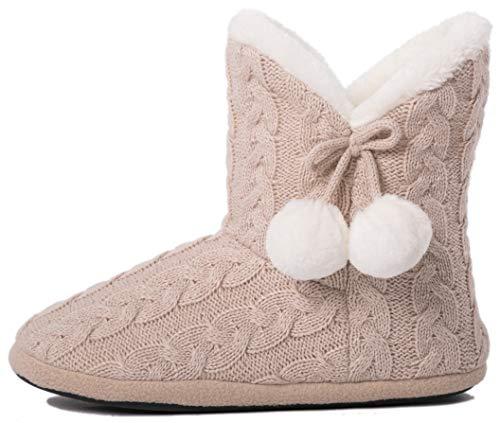 Airee Fairee Hausschuhe Damen Pantoffeln Stiefel Schuhe mit Weichen- Gr. 40/41 EU (L), Beige