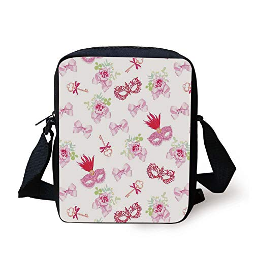 ks and Vintage Keys Floral Bouquets Bows Pattern in Party Themed Design,Pink and Green Print Kids Crossbody Messenger Bag Purse ()