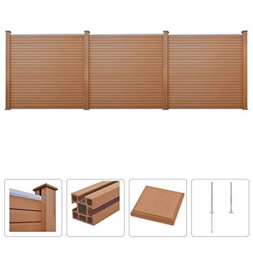 Tidyard set pannelli recinzione, 27 pannelli in wpc / 4 montanti / 9 piedini in acciaio / 3 barre in alluminio, 531 x 187 cm, marrone