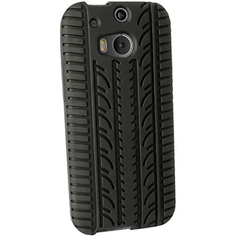iGadgitz Black Rubber Tyre Skin Silicone Gel Case for HTC