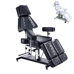 Polironeshop modèle Shamal chaise-lit multifonctions de massage pour centre d'esthétique, physiothérapie, salon de tatouage, massage, épilation, médecin ambulancier, traitements et thérapie, manucure et pédicure professionnelles, shiatsu, centres sportifs noir