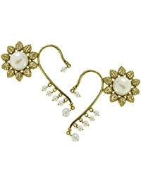The Jewelbox Sun Flower Filigree Pearl Antique Gold Plated Ear Cuff Pair Earring For Women