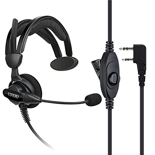COODIO Kenwood Radio Casque 2-Pin Oreillette Écouteur [Pivotant Boom Microphone] [Antibruit] pour Kenwood Baofeng UV-5R, UV-82 Midland Wouxun Radio