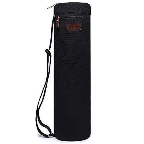 Yogamatten Tasche,Boence Vollständig Reißverschluss Übung Yoga Matte Handtasche mit stabil Segeltuch,Glatt Reißverschluss,einstellbar Tragegurt,Großer Vielseitiger verwendter Beutel,für die meisten Größen Yogamatten (Black)