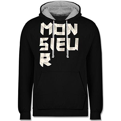 Statement Shirts - Monsieur Klebestreifen - Kontrast Hoodie Schwarz/Grau Meliert