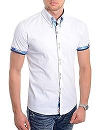 bfbe578e8d D R Fashion Camisa de Manga Corta Blanca para Hombre Diseño Italiano  Ajustado Patrón de Cheque Azul