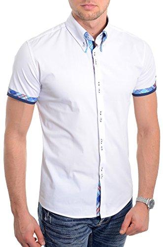 6f925cdc11250 D R Fashion Camisa de Manga Corta Blanca para Hombre Diseño Italiano  Ajustado Patrón de Cheque Azul