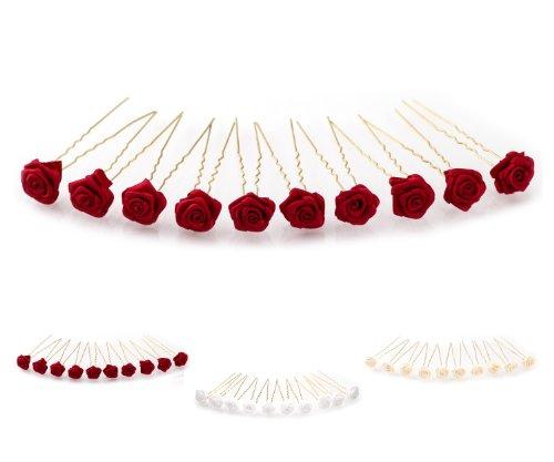 10 épingles à cheveux ornées de roses - accessoire pour coiffure avec du volume/de mariée - Épingle à cheveux dorée - rouge bordeaux