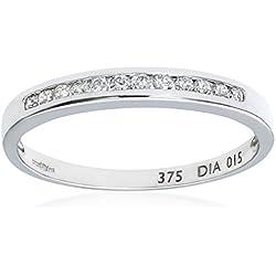 Naava Anillo para Mujer de Oro Blanco 9K con Diamantes de 0.25 ct talla 16.5