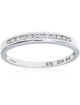 Naava Damen-Ring 9 Karat (375) Weißgold Gr. 48 (15.3)  9 Diamanten PR3700W N