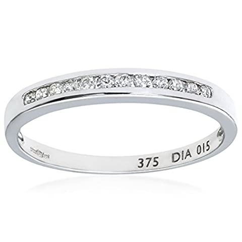 Naava Women's 0.15 ct Channel Set Diamond 9 ct White
