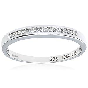 Naava Damen-Ring 9 Karat (375) Weißgold 7 Diamanten PR3645W N-p