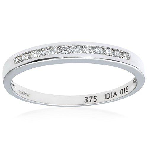Naava Damen-Ring 9 Karat (375) Weißgold Gr. 57 (18.1)  7 Diamanten PR3645W N
