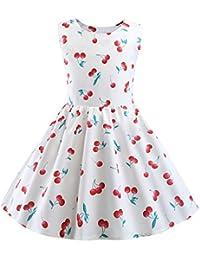 1b77b3146eb Sunnywill Robe Fille Papillon Fruit Print Party Robe d été pour Enfants ...