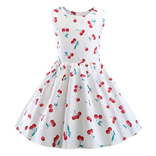 Livoral Mädchen Ballettröckchen Junge Kinder ärmellose Print Prinzessin Party Beauty Dress(Weiß,120)