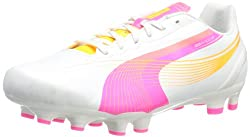 PUMA Womens Evospeed 4.2 FG Soccer Shoe,Metallic White,6 B US