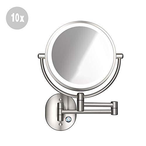 XNDCYX Espejo De Aumento De Pared, Espejo De Baño Giratorio Espejo De Maquillaje con Luz LED 10X Espejo...