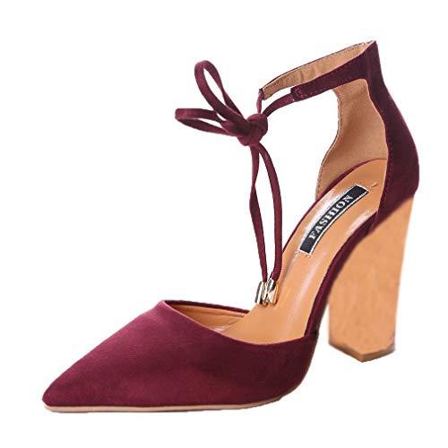 Minetom Donna Estate Scarpe Col Tacco Stiletto Elegante Cinturino Caviglia Tacco Alto Pompe Partito Sandali Con Lacci Vino Rosso EU 40