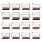 Silikon Stuhl Bein Bodenschoner, transparent klar, Möbel Tisch Füße für mit Filzgleiter, Stuhlgleiter Füße Endkappen–Rechteck