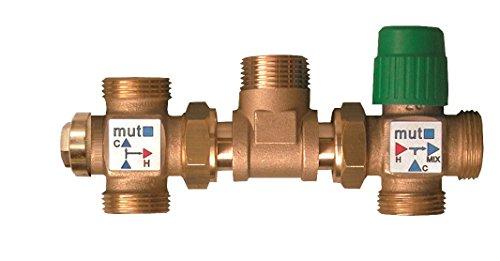 Mut 703001195Kit Solar Thermo mit deviatrice Thermostat A Skala Feste (45/55°C) und Mischbatterie verstellbar (30–60°C)