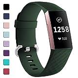 HUMENN Cinturino Compatibile per Fitbit Charge 3, Cinturini Classiche Braccialetti di Ricambio Regolabili per Fitbit Charge 3 attività Tracker, Grande Verde Militare