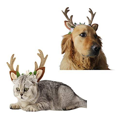 Morbuy Reizende Katzenkostüm Hunde Haustier Stirnband Kleidung, Weihnachtsren Stirnband Haustier Kostüme Katze lustiges Hunde Katze Halloween Karneval Cosplay (M Stirnband ()