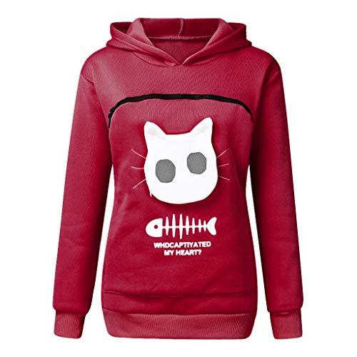 SUMTTER Kapuzenpullover Damen Hoodie Herren Unisex Sweatshirt Kängurus Tasche Haustier Halter für Katze Hund -