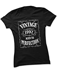 bybulldog Vintage 1997 Aged To Perfection 21st Birthday Present Ladies Premium Black T-Shirt Small To 2XL
