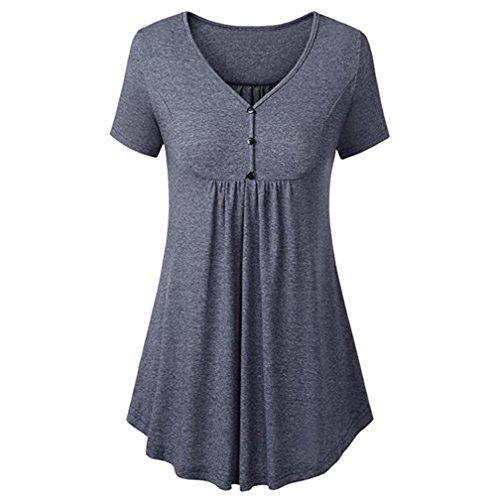 iYmitz Damen Crewneck Button-up Geraffte Bluse Kurzarm Tunika Tops Oberteil Shirt(Grau,EU-42/CN-L)