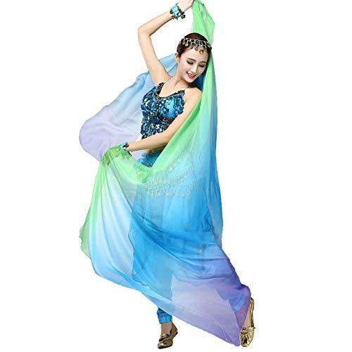 Doubleer Bauchtanz Kostüme Chiffon Garn Schal Solide Belly Dance Veils Bühnen Requisiten (Rock Spitze Schleier Tanz Kostüm)