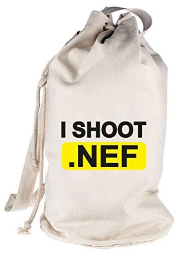 Shirtstreet24, I Shoot NEF, Kamera Camera bedruckter Seesack Umhängetasche Schultertasche Beutel Bag Natur