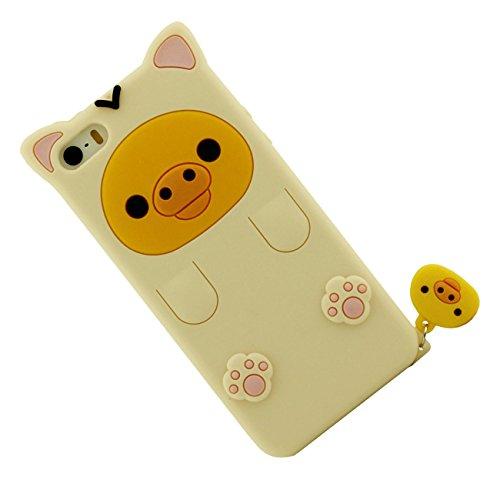 Apple Schutzhülle für iPhone SE / iPhone 5 5S 5G Hülle ( Pink ), Tier Cartoon Stil Original Design Niedlich 3D Bär Slikon Gel Weich Case + Silikon Halter hellgelb