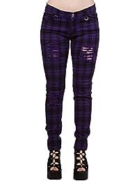 Pantalón escocés tipo jeans de pitillo de Banned (Lila/Negro) - 36