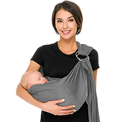 Cuby Breathable Baby Carrier Mesh Fabric, Ideal for Summers/Beachhe Adjustable Ring Sling Baby Carrier. Ergo Friendly (Light Grey)