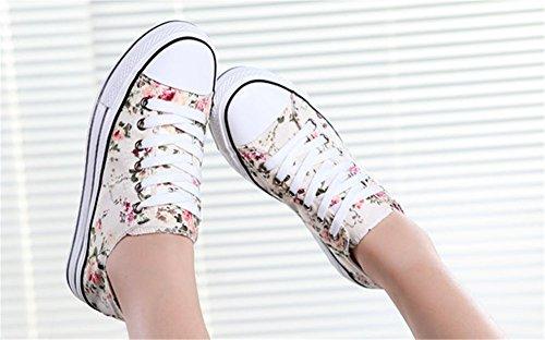 Wealsex Sneakers Basses Basket Fleurie Femme Talon Epais Chaussures Toile Confort Blanc