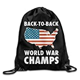 FTKLSS Lightweight Foldable Sac de Cordon Back to Back World War Champs Drawstring Backpack Beam Mouth School Travel Backpack Rucksack Shoulder Bags for Men & Women