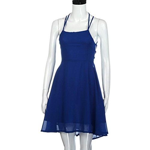 Bluestercool Femmes Robe de cocktail de fête Dos nu Bandage Mini robe Sans manches Bleu