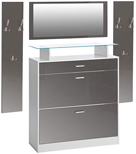 ts-ideen 4er Set Garderobe Spiegel Schuhschrank Schuhkipper 2 Wandpaneele Kleiderhaken Weiß Grau Hochglanz