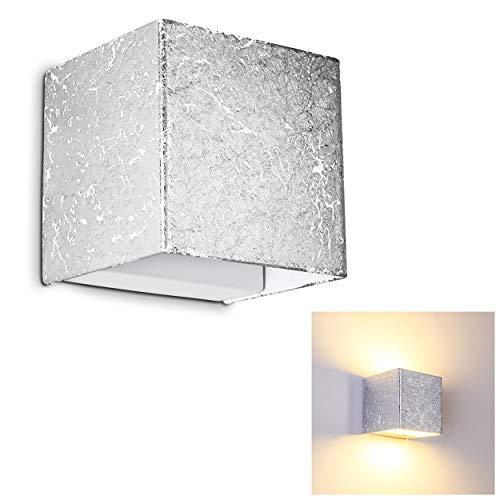 LED Wand Lampe Olbia in Silber - Wandstrahler mit 350 Lumen und 3000 Kelvin aus Metall - Wandleuchte für das Wohnzimmer - Schlafzimmer Leuchte - Wandspot Flur - Silber Wand-lampe